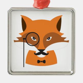 Ornement Carré Argenté Fox orange