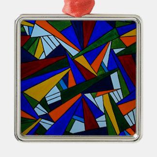 Ornement Carré Argenté Fragments colorés