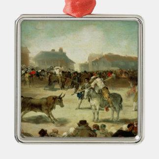 Ornement Carré Argenté Francisco Jose de Goya   une corrida de village