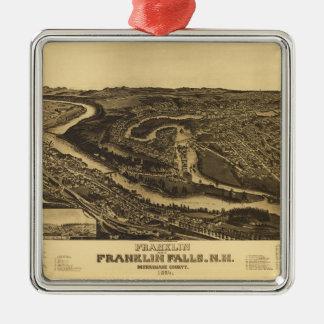 Ornement Carré Argenté Franklin et automnes de Franklin, New Hampshire