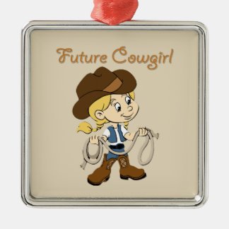 Ornement Carré Argenté Future cow-girl quand je grandis
