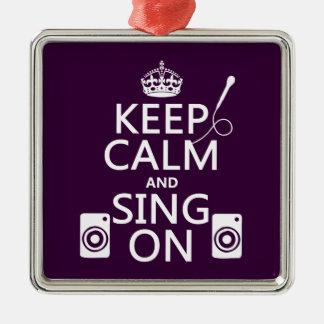 Ornement Carré Argenté Gardez le calme et chantez sur (le karaoke)