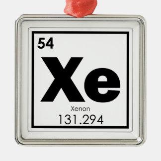 Ornement Carré Argenté GE de formule de chimie de symbole d'élément