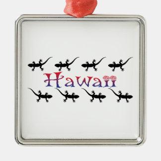 Ornement Carré Argenté geckos de hawai
