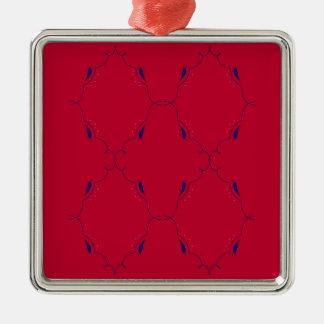 Ornement Carré Argenté Gens bleus rouges d'éléments de conception