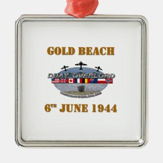 Ornement Carré Argenté Gold Beach 6th June 1944
