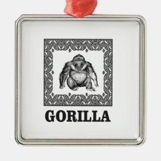 Ornement Carré Argenté gorille enfermé dans une boîte