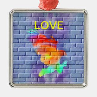 Ornement Carré Argenté Graffiti d'Eagle sur le mur de briques
