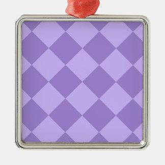 Ornement Carré Argenté Grand Checkered de Diag - violet et violet-clair