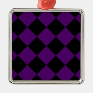 Ornement Carré Argenté Grand Checkered de Diag - violette noire et foncée