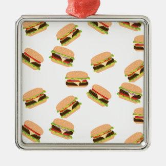 Ornement Carré Argenté Grand hamburger savoureux