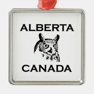 Ornement Carré Argenté Grand hibou à cornes d'Alberta Canada