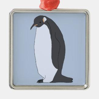 Ornement Carré Argenté Grand pingouin