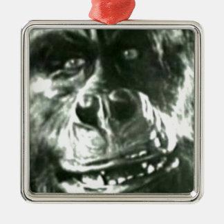 Ornement Carré Argenté Grand visage de singe