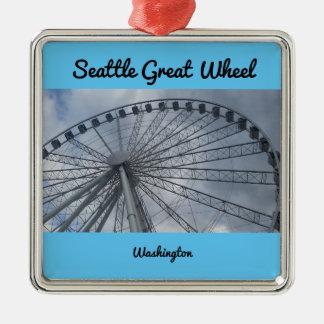 Ornement Carré Argenté Grande roue Puget Sound Washington de Seattle