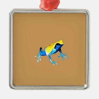 Ornement Carré Argenté Grenouille bleue et jaune par espièglerie adorable