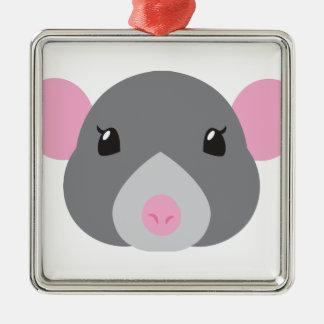 Ornement Carré Argenté gris de visage de rat de fille