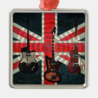 Ornement Carré Argenté Guitare électrique d'Union Jack de drapeau de