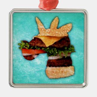 Ornement Carré Argenté Hamburger de licorne