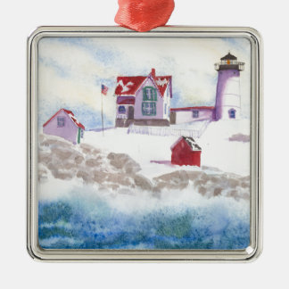 Ornement Carré Argenté hiver au phare de protubérance au Maine