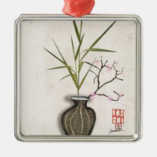 Ornement Carré Argenté ikebana 7 par les fernandes élégants