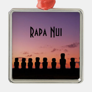 Ornement Carré Argenté Île de Pâques Rapa Nui Chili Amérique du Sud