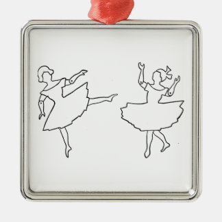 Ornement Carré Argenté Illustration de coupe-circuit de danseurs