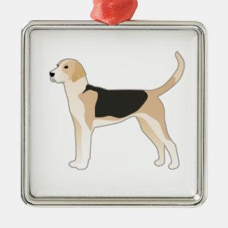 Ornement Carré Argenté Illustration de race de chien de fox-hound anglais