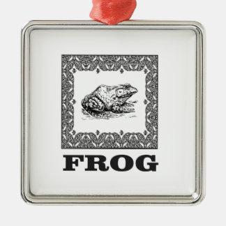Ornement Carré Argenté illustration encadrée de grenouille