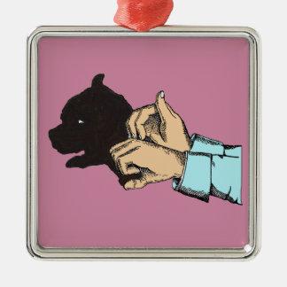 Ornement Carré Argenté Image de chien d'art de main sur Ormanent carré