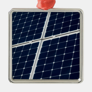 Ornement Carré Argenté Image d'un panneau d'énergie solaire drôle