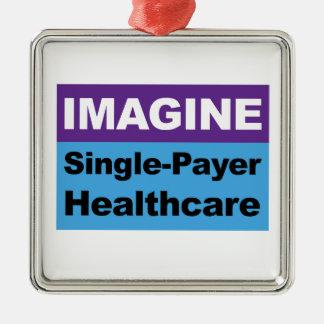 Ornement Carré Argenté Imaginez les soins de santé simples de débiteur