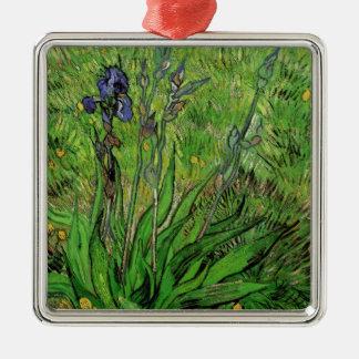 Ornement Carré Argenté Iris par Vincent van Gogh, beaux-arts vintages de