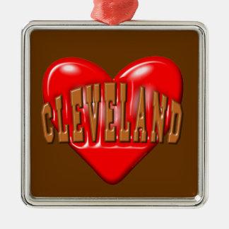 Ornement Carré Argenté J'aime Cleveland