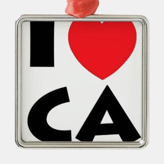 Ornement Carré Argenté J'aime la Californie
