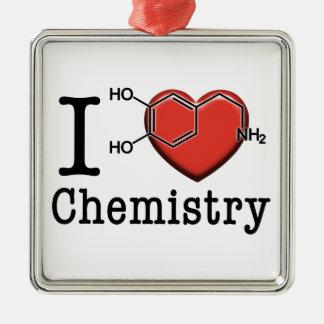 Ornement Carré Argenté J'aime la chimie