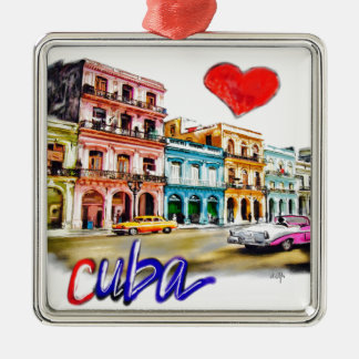 Ornement Carré Argenté J'aime le Cuba