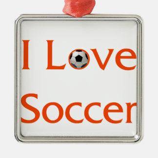 Ornement Carré Argenté J'aime le football
