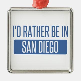 Ornement Carré Argenté Je serais plutôt à San Diego
