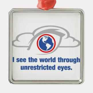 Ornement Carré Argenté Je vois le monde par les yeux sans restriction
