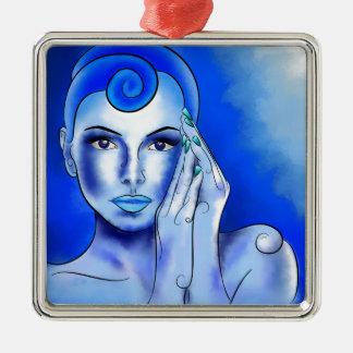 Ornement Carré Argenté Jewellisina V1 - trésor bleu