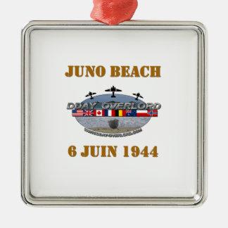 Ornement Carré Argenté Juno Beach 1944 Normandie