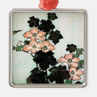 Ornement Carré Argenté Katsushika Hokusai (葛飾北斎) - ketmie et moineau