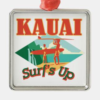 Ornement Carré Argenté Kauai surfe