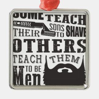 Ornement Carré Argenté La barbe, un certain père enseignent à raser