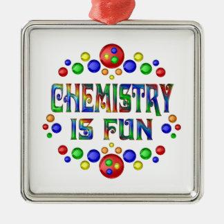 Ornement Carré Argenté La chimie est amusement