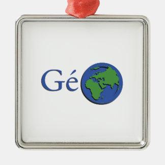 Ornement Carré Argenté la planète terre - géographie