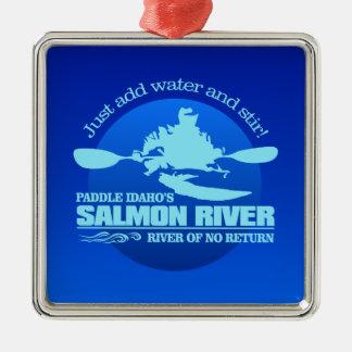 Ornement Carré Argenté La rivière Salmon (bleue)