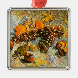 Ornement Carré Argenté La vie toujours avec des pommes, poires, raisins -