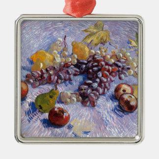 Ornement Carré Argenté La vie toujours : Pommes, poires, raisins - Van